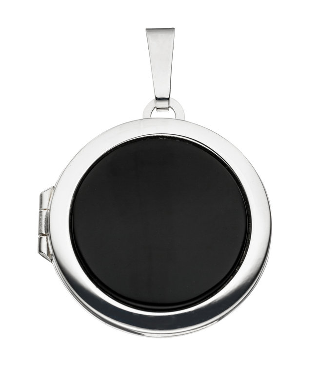 JOBO Sterling silver locket (925) Onyx for 2 photos