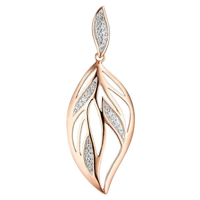 Sterling zilveren hanger Leaf met zirkonia rood goud verguld