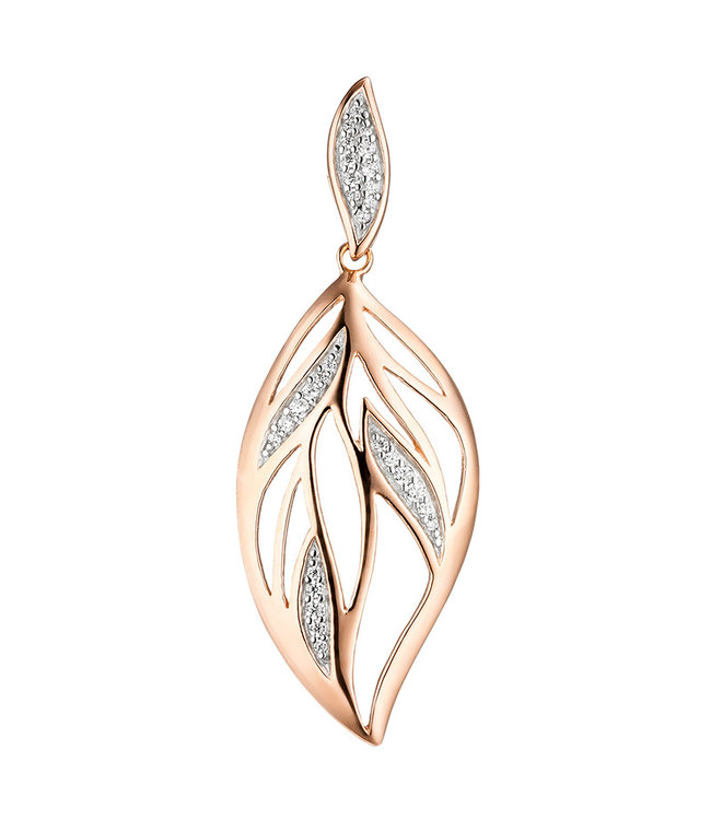 JOBO Sterling silver pendant Leaf with zirconia red gold plated