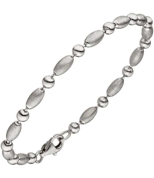 Aurora Patina Schakel armband 925 Sterling Zilver lengte 19 cm deels gematteerd