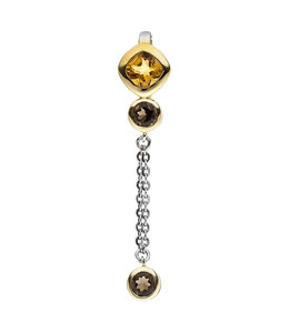 JOBO Pendant partly gold plated with citrine and smoky quartz