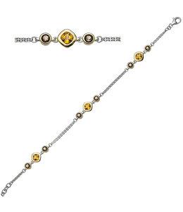 JOBO Deels vergulde armband met citrien en rookkwarts 20 cm