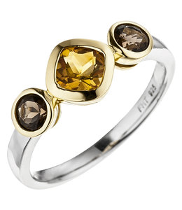 JOBO Ring partly gold plated with citrine and smoky quartz