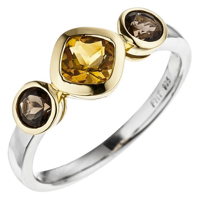 Deels vergulde zilveren ring (925) met citrien en rookkwarts