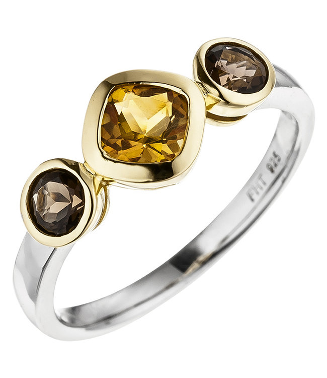 JOBO Partially gold plated silver Ring (925) with citrine and smoky quartz