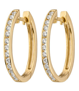 JOBO Earrings creoles 375 Gold with Zirconia