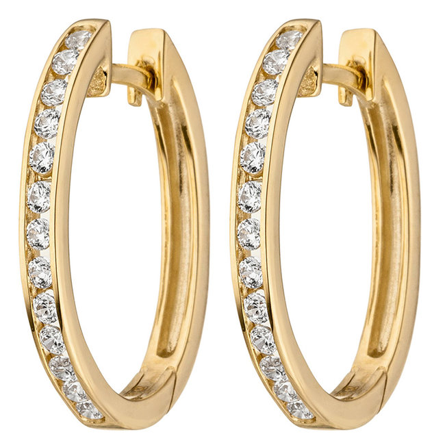Aurora Patina Earrings creoles 375 Gold with Zirconia