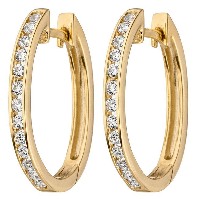 Creoles 9 carat Gold with 26 Zirconia