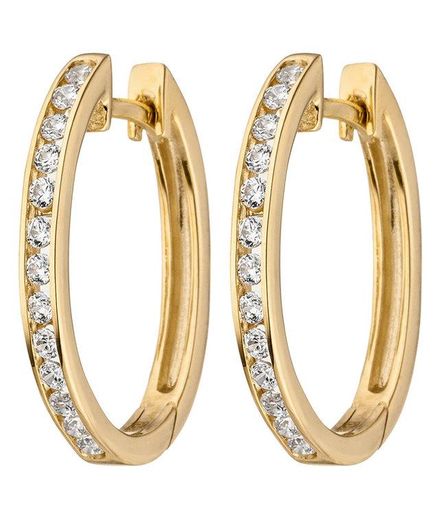 JOBO Creoles 9 carat Gold with 26 Zirconia