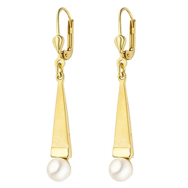 Aurora Patina Gouden oorbellen met Akoya parels