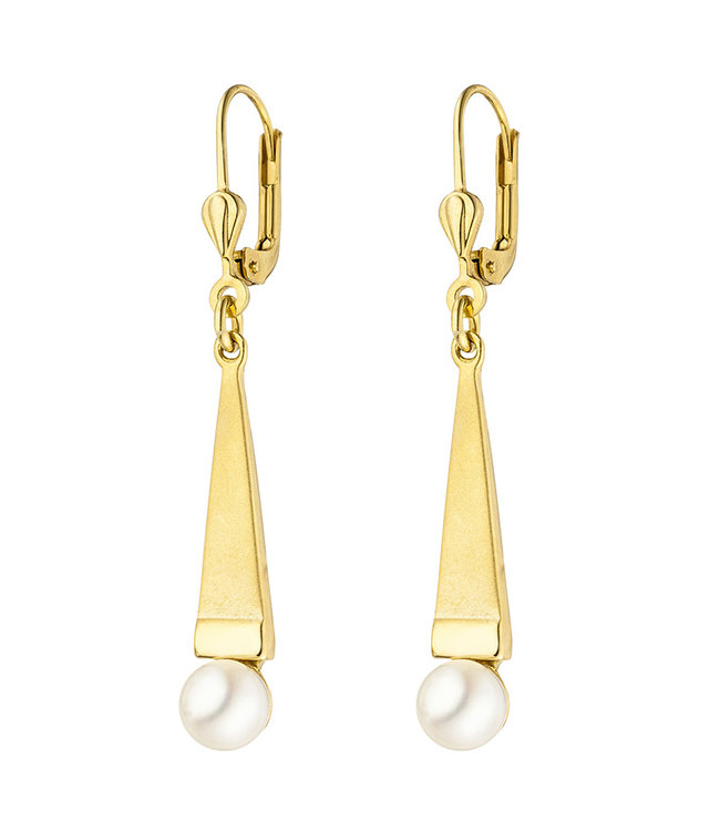 Aurora Patina Gold earrings 9 carat (375)  with Akoya pearls