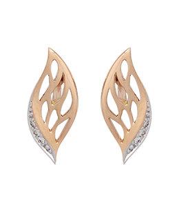 Aurora Patina Rood gouden oorstekers met 6 briljanten