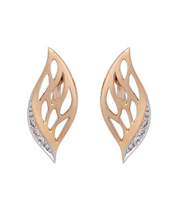 JOBO Red gold earstuds with 6 diamonds