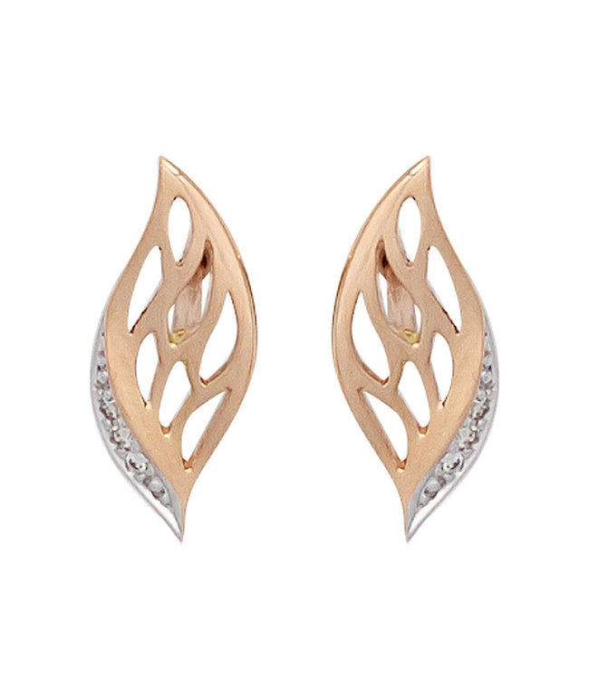 JOBO Stud earrings in 14 carat (585) red gold with 6 brilliant cut diamonds