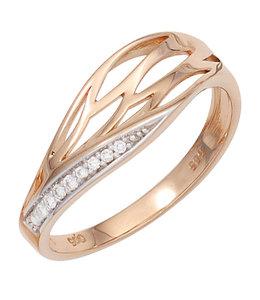 Aurora Patina Damen Ring aus Rotgold mit 8 Brillanten