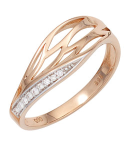 Aurora Patina Rood gouden ring  met 8 briljanten