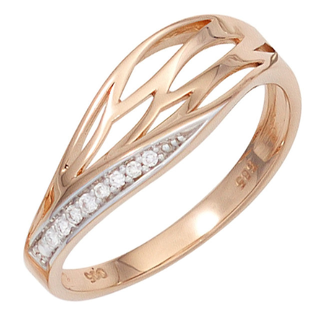 Ring in 14 carat (585) red gold with 6 brilliant cut diamonds
