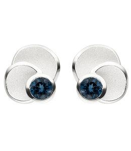 JOBO Zilveren oorstekers blauwtopaas London Blue