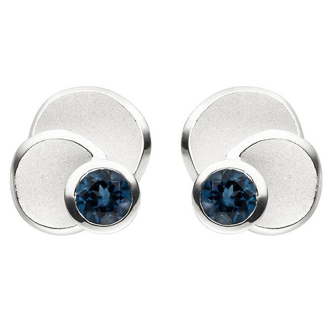 Aurora Patina Silver earrings studs blue topaz London Blue