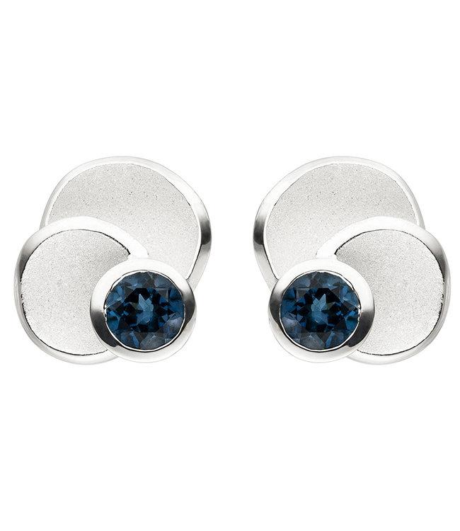 JOBO Zilveren oorstekers (925) blauwtopaas London Blue