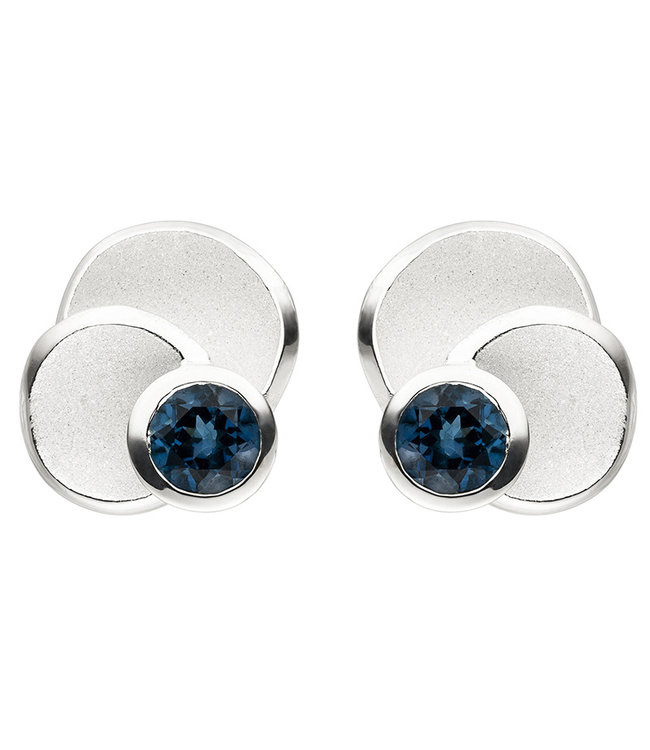 Aurora Patina Silver earrings studs (925) blue topaz London Blue
