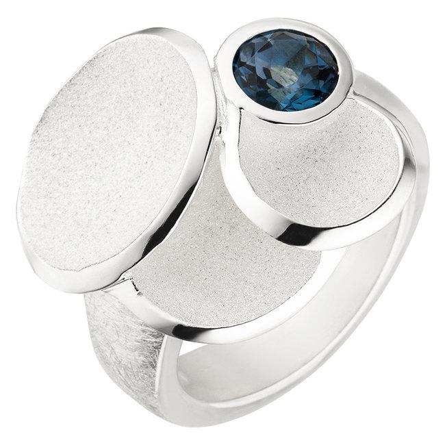 Aurora Patina Zilveren ring  blauwtopaas London Blue