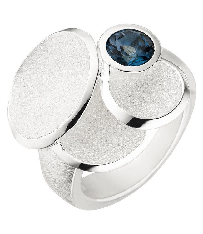 JOBO Sterling zilveren ring (925) blauwtopaas London Blue