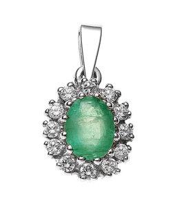 JOBO Zilveren hanger groene smaragd en zirkonia
