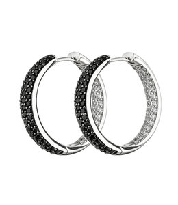 Aurora Patina Oorbellen creolen zilver met zirkonia in zwart en wit