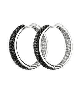 JOBO Oorbellen creolen zilver met zirkonia in zwart en wit