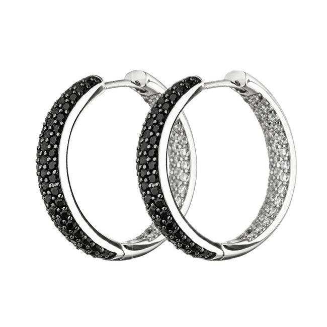 Creool oorbellen in 925 sterling zilver met zirkonia's in zwart en wit