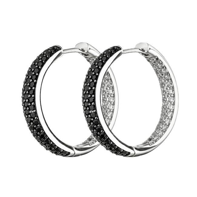 Hoop earrings in 925 sterling silver with zirconias in black and white