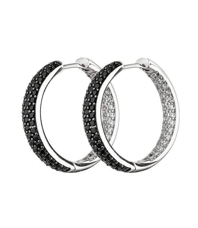 Aurora Patina Hoop earrings in 925 sterling silver with zirconias in black and white