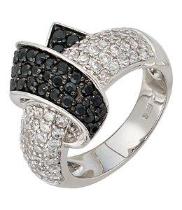 JOBO Zilveren ring met zirkonia in zwart en wit
