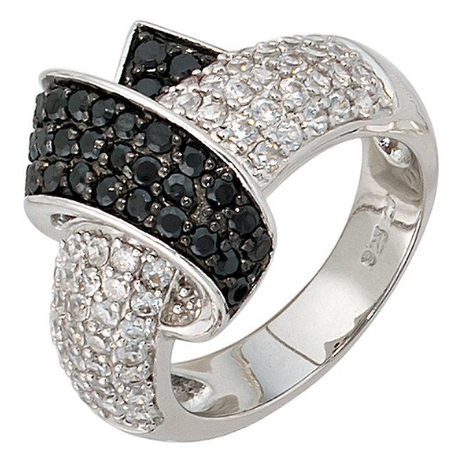 Dames ring in 925 sterling zilver met zirkonia's in zwart en wit