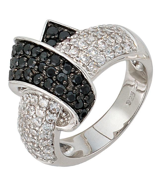 Aurora Patina Ring in 925 sterling silver with zirconias in black and white