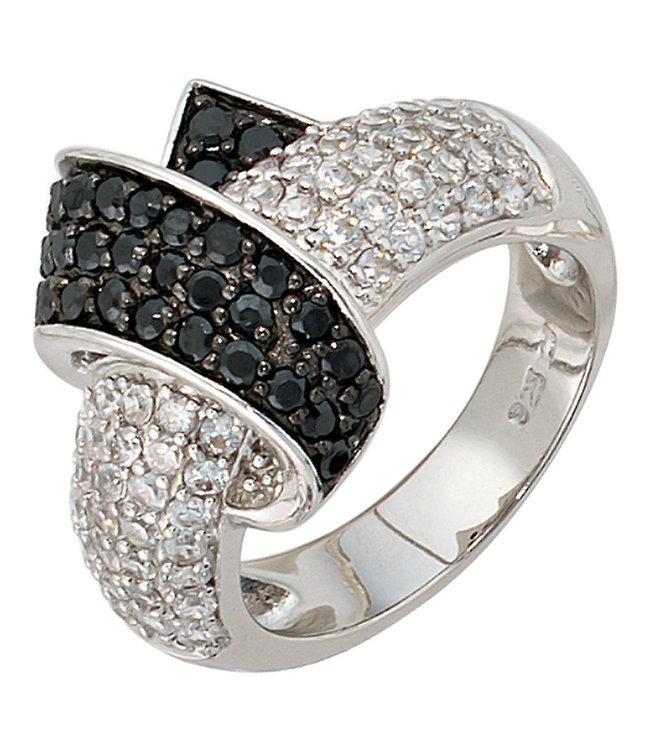 Aurora Patina Damen Ring 925 Sterlingsilber mit Zirkonia in schwarz und weiß