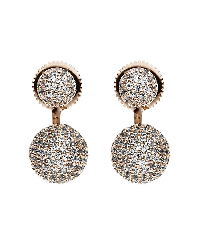 JOBO Red gold plated earrings with 296 zirconias