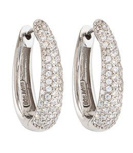 JOBO Earrings creoles silver with zirconia