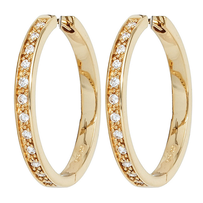 Earrings creoles gold plated sterling silver with 24 zirconias