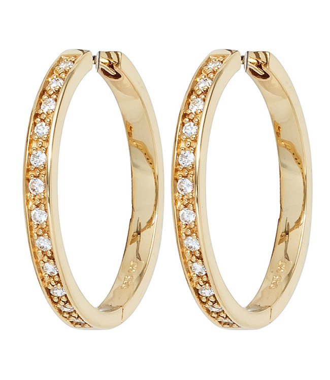 JOBO Earrings creoles gold plated sterling silver with 24 zirconias