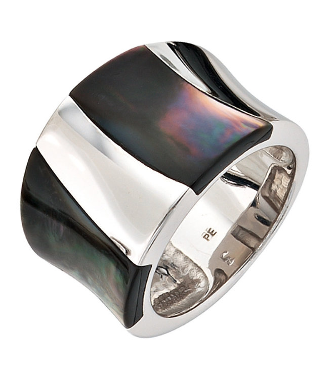 JOBO Wide sterling silver ring (925) with mother of pearl inlay