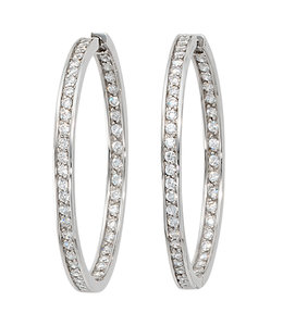 JOBO Large hoop earrings creoles silver with zirconia