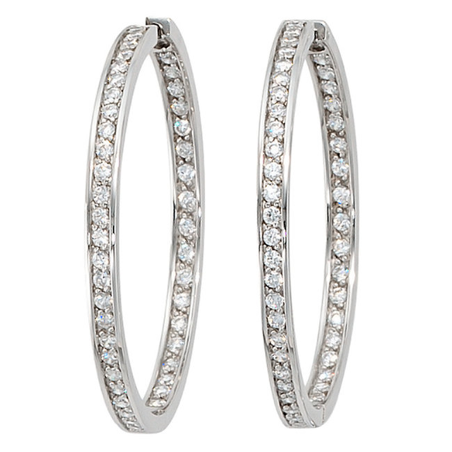 Aurora Patina Large hoop earrings creoles silver with zirconia