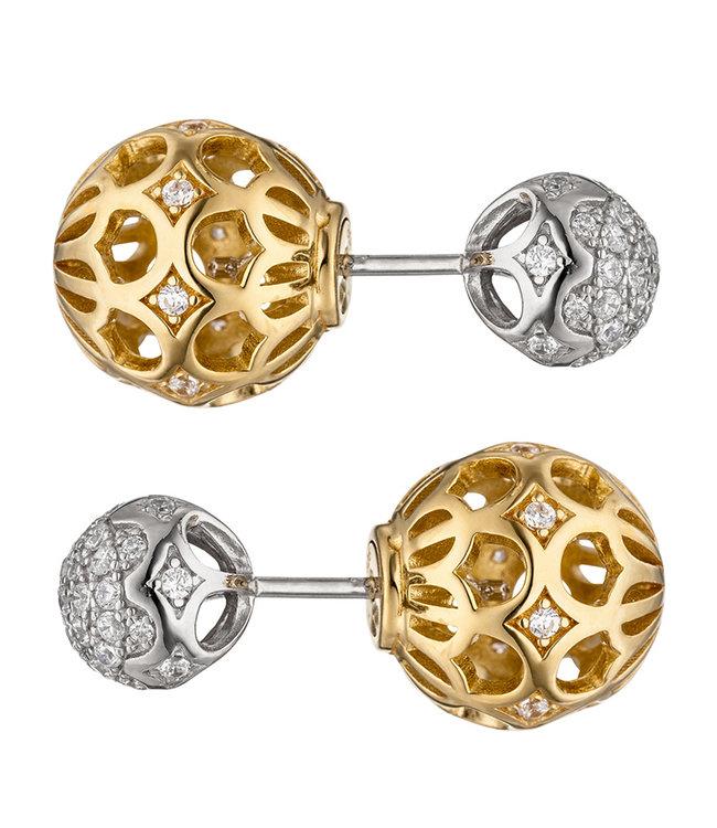 JOBO Zilveren oorstekers (925) met zirkonia deels verguld