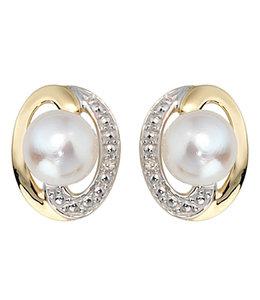 Aurora Patina Gouden oorstekers met zoetwaterparels en briljanten