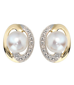 JOBO Gold earring studs with freshwater pearls and diamonds