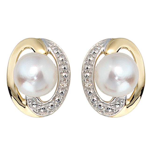 Aurora Patina Gold earring studs with freshwater pearls and diamonds
