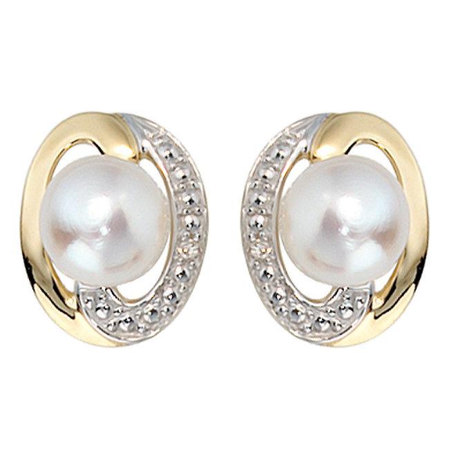 Aurora Patina Goldohrstecker mit Süßwasser Perlen und Brillanten