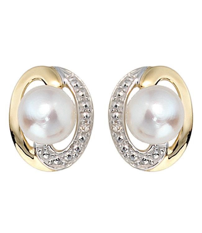 JOBO Gouden oorstekers 14 kt (585) met zoetwaterparels en briljanten